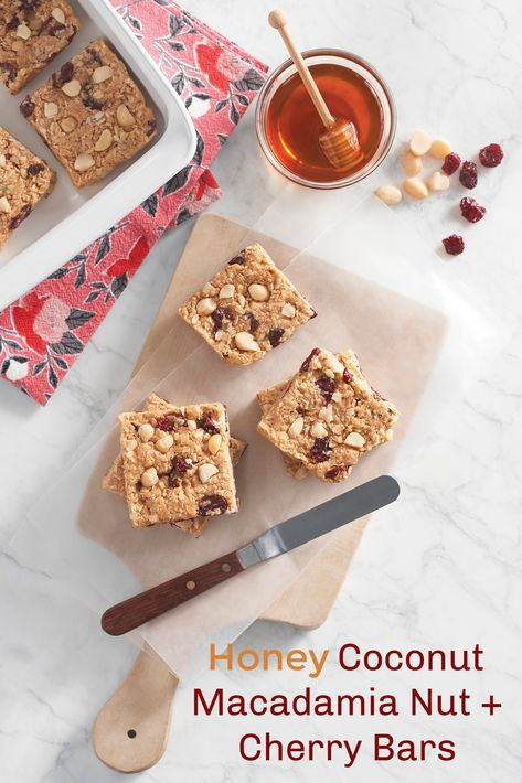 Honey Coconut Macadamia Nut + Cherry Bars: Yummy! Did you know that hard-working honey bees are responsible for pollinating one-third of the global food supply, including macadamia nuts, cherries, and almonds while also benefiting coconuts? #ad