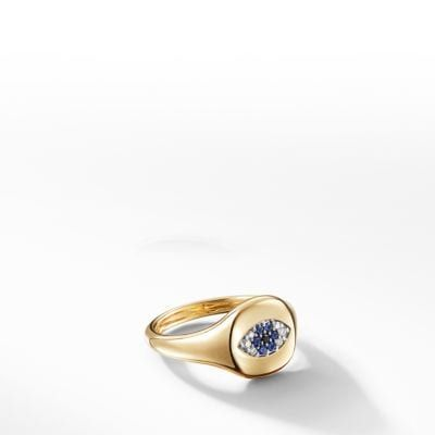 Cable Collectibles Evil Eye Mini Pinky Ring In 18k Gold With Diamonds Women Rings Pinky Ring Jewelry