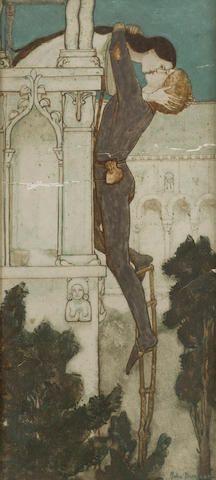 John Duncan RSA RSW (British, 1866-1945) Romeo and Juliet 28 x 13 cm. (11 x 5 1/8 in.)