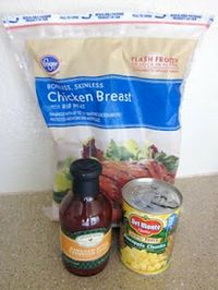 3 ingredients!  Frozen chicken breasts, BBQ Sauce & can of pineapple. Throw it all in the crock pot.