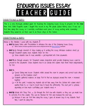 Ny State Global Regent Enduring Issue Essay Bundle By Stuck On Edu Teacher Guide Outline