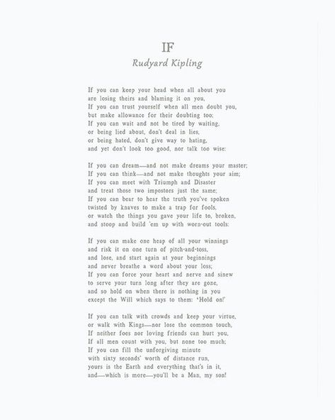 If by Rudyard Kipling, If Poem, Rudyard Kipling Poem, Box Sign, You'll be a man my son