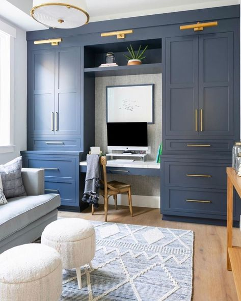 traditional living room with navy built-ins with small desk area, neutral living. traditional living room with navy built-ins with small desk area, neutral living room with home off Home Design, Home Office Design, Home Office Decor, Home Decor, Office Ideas, Office Setup, Office Organization, Office Cabinet Design, Loft Office