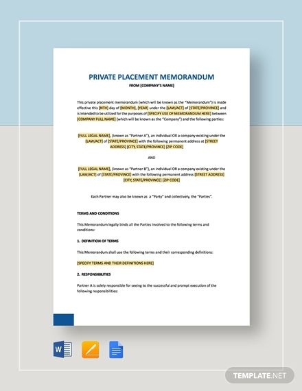 Private Placement Memorandum Template Free Pdf Google Docs Word Apple Pages Template Net Character Reference Letter For Court Character Reference Letter For Court Template Purchase Agreement