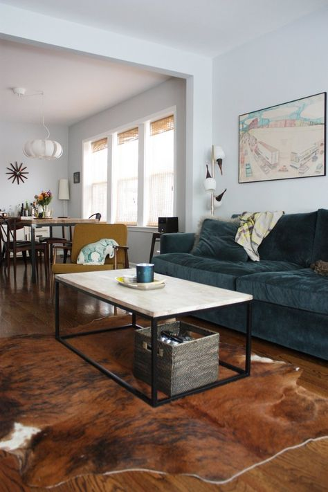 Box Frame Coffee Table + Mongolian Lamb Pillow Cover from west elm