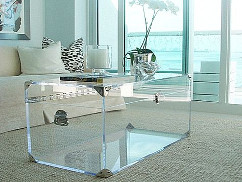 Acrylic trunk coffee table  Fill with neatly stacked books, carefully arranged display of your favorite objets or leave empty....
