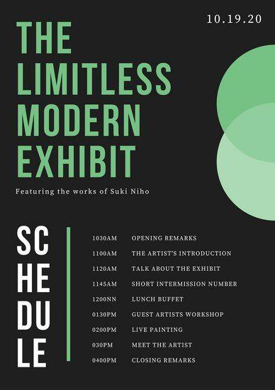 Black And Green Modern Minimalist Art Exhibit Event Program
