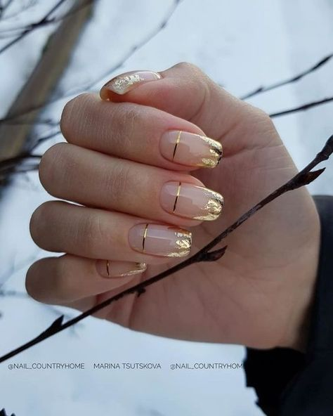 Nude Nails, Nail Manicure, Pink Nails, Manicure Ideas, Coffin Nails, Gold Tip Nails, Stiletto Nail Art, Gold Nail, Pink Nail Art
