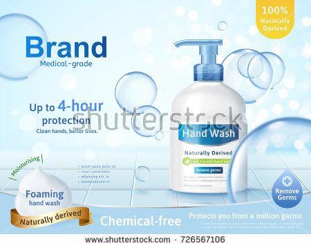 Medical Grade Hand Wash Ads Flowing Clear Liquid Splashing Around