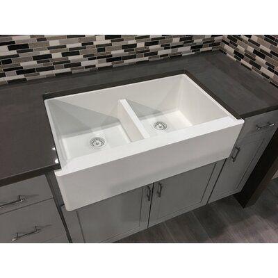 Karran Quartz 34 X 21 Double Basin Farmhouse Kitchen Sink Finish