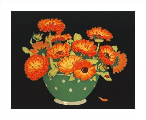 Marigolds By John Hall Thorpe Botanicheskie Illyustracii