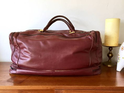 Large Soft Leather Duffle Bag Oversized Burgundy Weekender