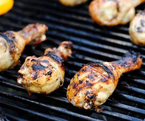 Grilled chicken drumsticks marinated in a garlic olive oil marinade.