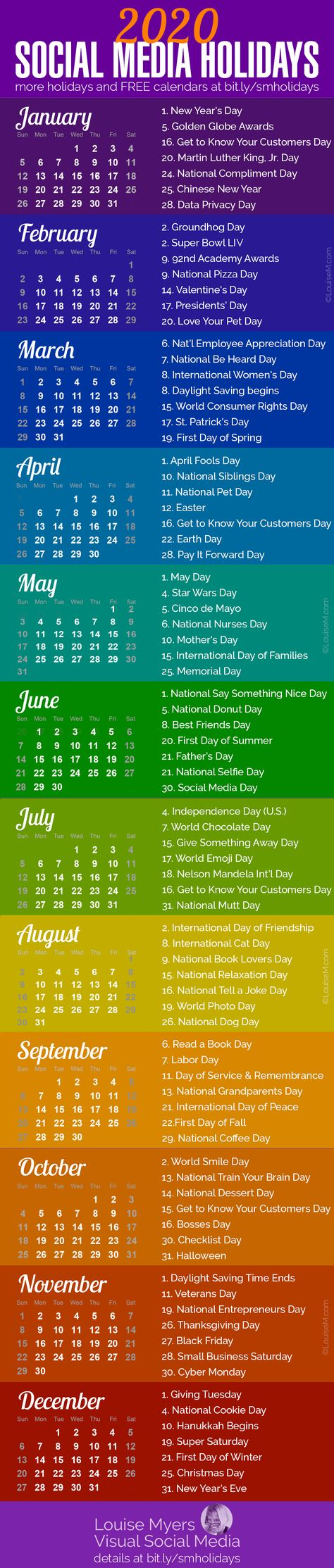 Social media marketing tips: These 2020 holidays are essential for spicing up your content marketing. Click to blog for more ideas and FREE printable calendar monthly. Perfect for small business owners, entrepreneurs, and bloggers. | #LouiseM #ContentMarketing #SmallBusinessTips #Calendar2020 #Printable #Holidays #SocialMediaMarketing #SMM
