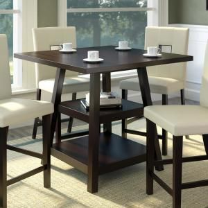 Corliving Bistro Cappuccino 36 In Counter Height Square Dining Table Dip 490 T The Home Depot Counter Height Dining Table Square Dining Tables Counter Height Dining Sets