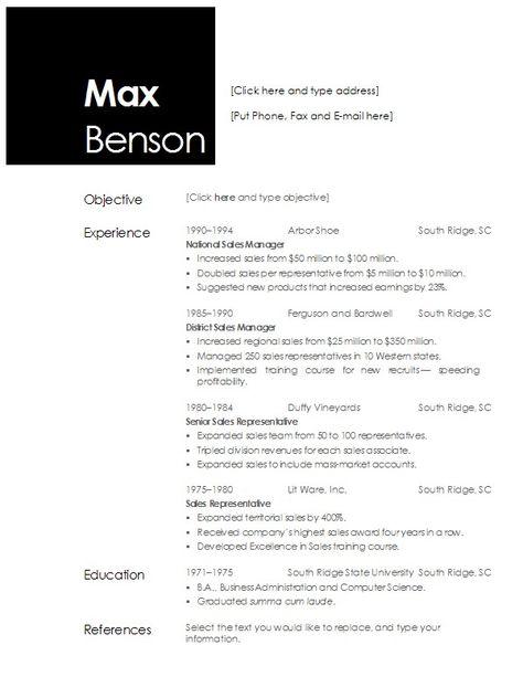 Resume Templates 2013 Open Office