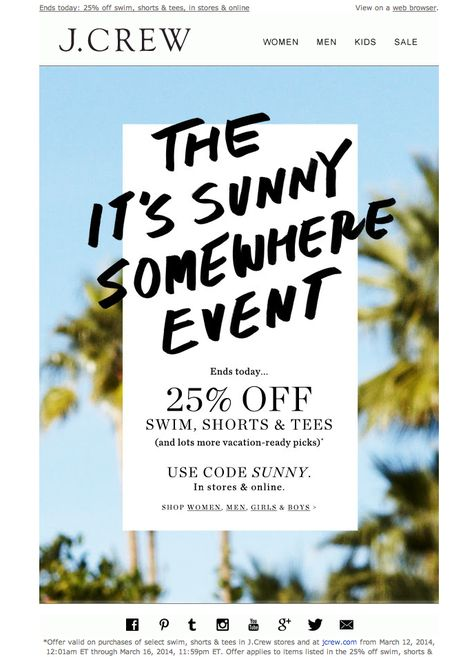 #newsletter J.Crew 03.2014 The It's Sunny Somewhere Event ends today