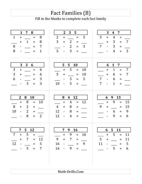 The Addition And Subtraction Relationships With Sums To 18 B Math Worksheet From The Fact Fact Family Worksheet Family Worksheet Subtraction Facts Worksheet Adding and subtraction inverse worksheet