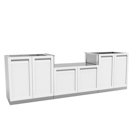 4 Life Outdoor Stainless Steel 3 Piece104x35x23 5 In Outdoor Kitchen Bbq Cabinet Set With Powder Coated Doors In White Outdoor Kitchen Kits Modular Outdoor Kitchens Outdoor Kitchen Cabinets