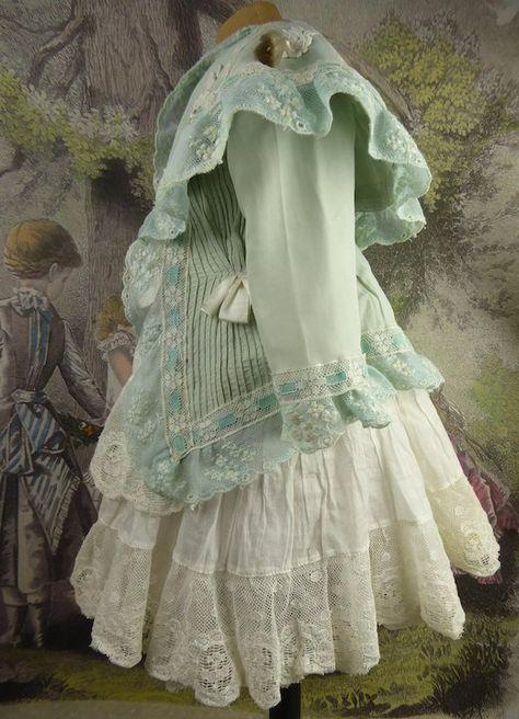 Wonderful French aqua antique doll dress with matching bonnet for Jumeau, Bru, Steiner, Gaultier or another Bébé