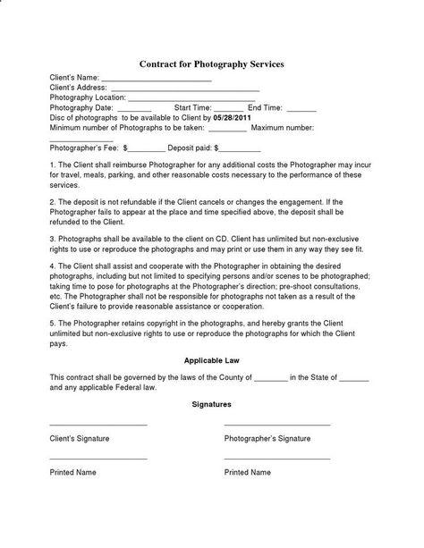 Free Printable Wedding Photography Contract Template Form (GENERIC - free printable contracts