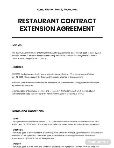 Restaurant Contract Extension Agreement Template Free Pdf Google Docs Word Pdf Template Net Word Doc Agreement Contract