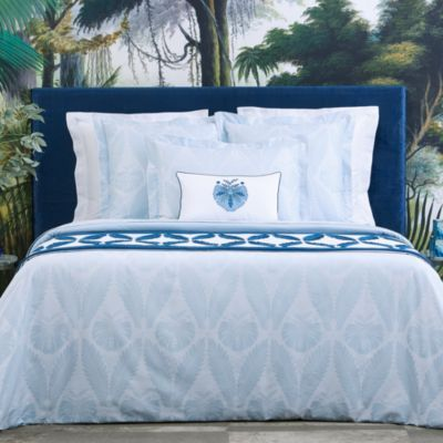 Yves Delorme Palmes Flat Sheet Queen Bed Linens Luxury Bed Reversible Duvet Covers