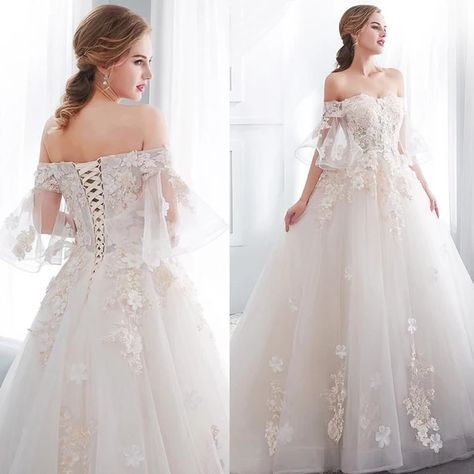 wedding dress hijab Off the Shoulder Romantic Wedding Dress Sizes 2 26 Lace