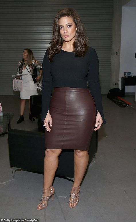 Ashley Graham showcases her curves in tight-fitting skirt The plus-size model went hell for leather as she showed off her stunning curves at the event on Pier 36