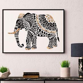 Tribal Elephant Stencil - Designer Stencils For Walls