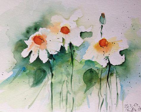 Aquarelle Originale Aquarelle Art Peinture Fleurs Marguerites