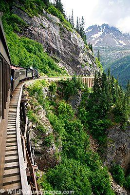 Train ride through the mountains in Skagway, Alaska