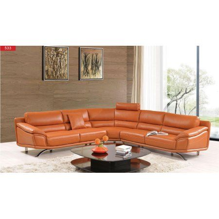 Esf 531 Contemporary Chic Orange Leather Sectional Sofa With Head Support Set 2 Leathersectionalsofas Sectional Sofa Reclining Sectional Sectional Sofa Sale