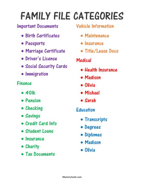 Family File Categories- Color-coded for visual people like me! I love this system!