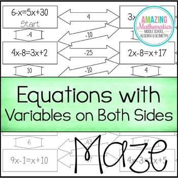 Solving Equations With Variables On Both Sides Maze Worksheet
