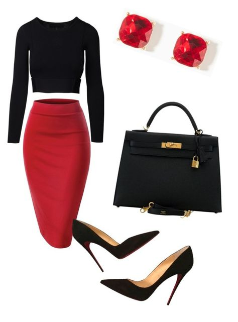 A fashion look from January 2017 featuring Christian Louboutin pumps e Hermès handbags. Browse and shop related looks. Dressy Outfits, Mode Outfits, Stylish Outfits, Fashion Outfits, Womens Fashion, Work Fashion, Fashion Looks, Elegantes Outfit, Professional Attire