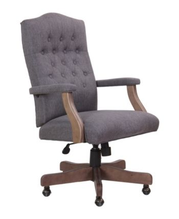 Boss Office Products High Back Executive Swivel Chair Gray Tufted Office Chair Grey Desk Chair Home Office Chairs