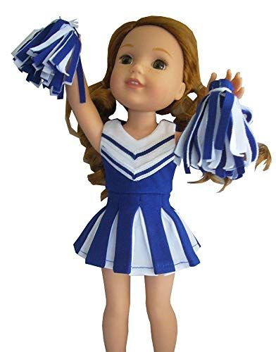 """Blue Cheerleader Dress Fits American Girl 14.5/"""" Wellie Wisher Doll Clothes"""