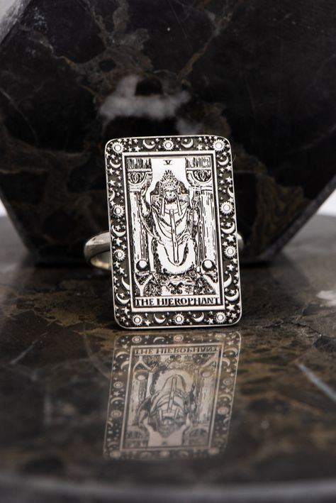Excited to share this item from my #etsy shop: The Hierophant Tarot Card Ring Silver Astrology Ring Tarot Jewelry Gold Tarot Gifts Gift For Her Mom Gifts Personalized Ring Uluer jewelry #silver #zodiac #yes #unisexadults #minimalist #thehierophant #tarotringsilver #beveled