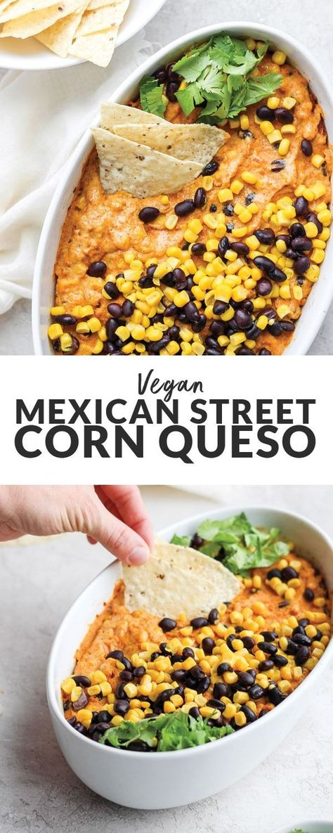 This Vegan Street Corn Queso Dip is the ultimate healthy appetizer for your next get-together!Made with our delicious vegan queso + sweet corn and black beans, and then baked to cheezy perfection, this queso dip can't be beat. #queso #veganrecipe