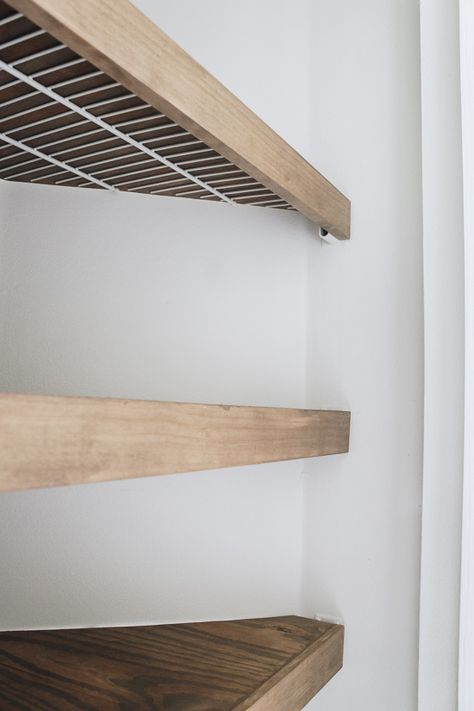 DIY Faux Floating Shelves - Within the Grove How to build diy faux floating shelves that will hide wire shelves in a closet. This is an amazing home hack that's an instant transformation. Home Diy, Diy Shelves, Home Hacks, Cheap Home Decor, Home Goods, Shelves, Home Remodeling, Diy Home Improvement, Floating Shelves Diy