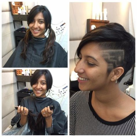 Cool Short Indian Hairstyle For With Close Shaved Side