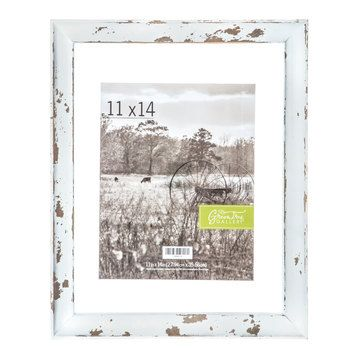 Distressed White Floating Wood Wall Frame 11 X 14 Frames On Wall Wood Wall Wall Collage