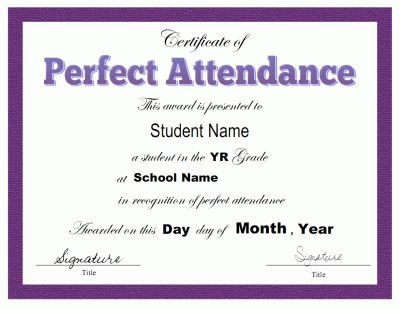New Perfect Attendance Certificate Template In 2021 Attendance Certificate Perfect Attendance Certificate Perfect Attendance