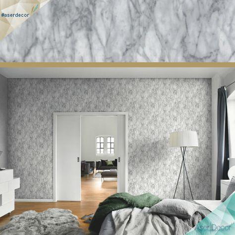 Elegante e sofisticado ao mesmo tempo, o Papel de Parede Mármore - tapeten für schlafzimmer bilder