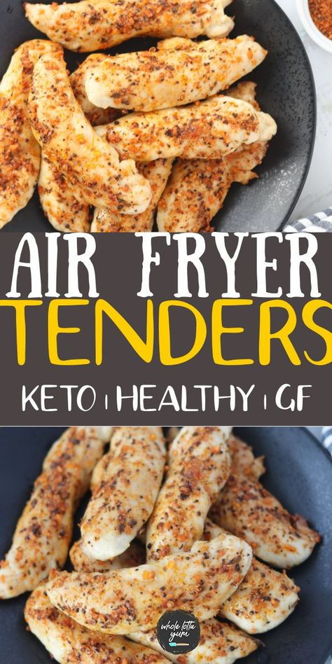 Air fryer chicken tenders that are unbreaded, keto, and gluten free. You'll love these healthy chicken tenders in air fryer!