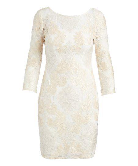 Aidan Mattox Ivory Lace Sheath Dress Women Zulily Lace Sheath Dress Sheath Dress Womens Dresses