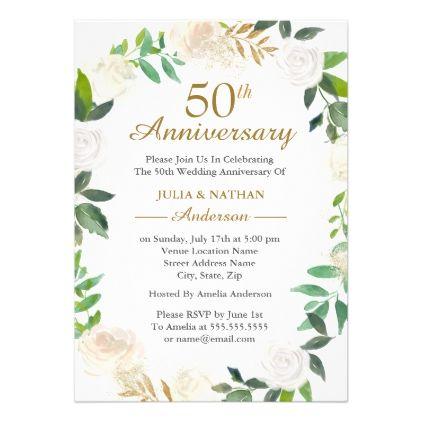 Gold Watercolor Wreath 50th Wedding Anniversary Invitation Zazzle Com 50th Wedding Anniversary Invitations Wedding Anniversary Invitations Anniversary Invitations
