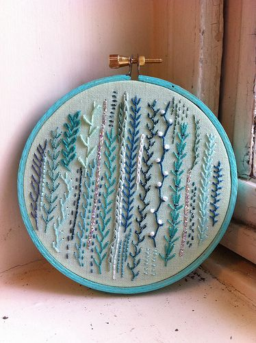 "nontraditional embroidered ""samplers""... I've learned to knit, to crochet and to sew; I feel like brushing up on embroidery should be next."