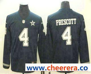 timeless design 188a1 5cd19 Men's Dallas Cowboys #4 Dak Prescott Nike Navy Therma Long ...